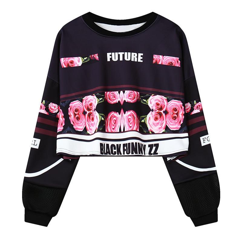 Aggressiv Freies Verschiffen 2015 Neue Harajuku Herbst Und Winter Rose Digitale Briefe Drucken Stempel Losen Kurzen Entwurfs-sweatshirt Buy One Give One