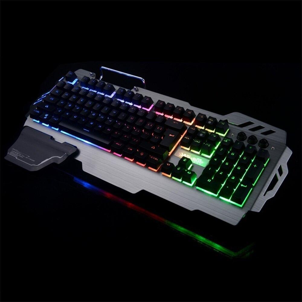 Проводная механической клавиатуры 104 клавиши Настоящее RGB синий переключатель светодио ...