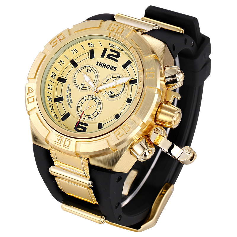 SHHORS Brand Sport Military Watch Big Dial Army Watch Rubber Band Luxury Gouden Horloges Heren Gouden Heren Klok Relogio Masculino