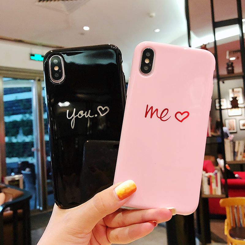 Glossy Heart Painted Phone Case For iphone 8 7 6 Fashion Couples Back Soft TPU Cover Cases X 6s Plus
