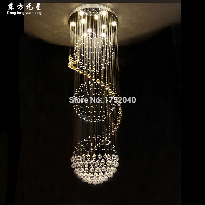 Crystal chandelier led light stair lamp long wire for Lange deckenlampe