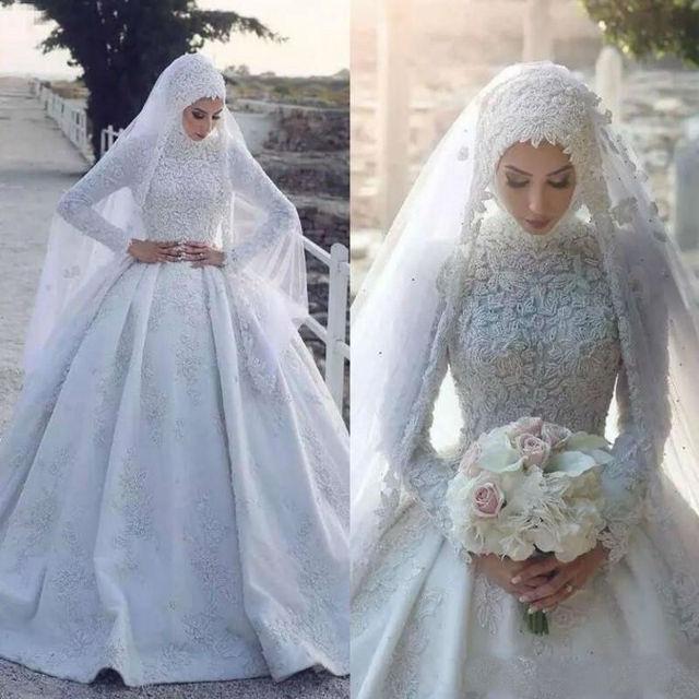 أبيض مسلم فستان الزفاف مع الحجاب طويل بلا أكمام دانتيل زين ذيل كورت طول الأرض زي العرائس Vestido De Novia