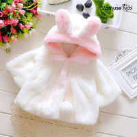 2016 New Baby Girl Clothes Faux Fur Coat Fall Winter Children Hooded Kids Girls Cute 3D