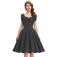 New arrival 2016 Summer Women Casual Dresses Party Robe Rockabilly 50s Black Vintage Dress polka dot print Big Size Vestidos
