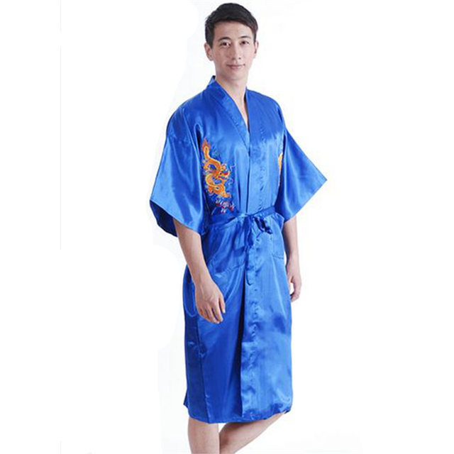 8ac0660a57 2017 Men s Satin Chinese Style Bridegroom Robes Bathrobe Embroidery Dragon  Nightgown Sleepwear Dressing Gown For Male