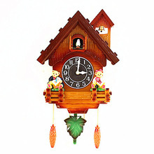 European cuckoo cuckoo clock quartz clock chime creative simple large dial small house watch children's room watches Decoration