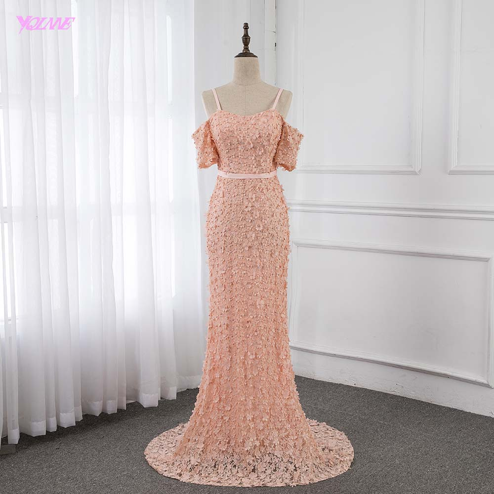 Elegant Peach Flowers Lace Pearls   Evening     Dresses   Long Mermaid Fashion   Evening   Gown Sleeveless YQLNNE