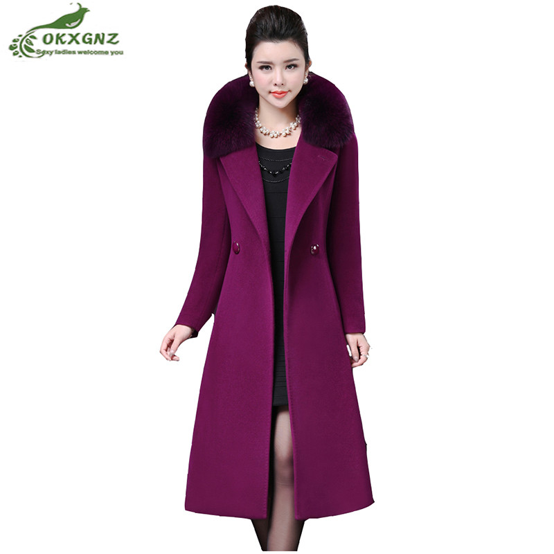 Women's Windbreaker autumn winter new thicken fox fur collar wool jacket large size medium long cashmere coats Female OKXGNZ