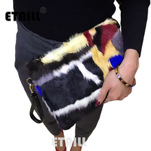 Winter Mink Fur Clutch Bag Rainbow Stripe Envelope Purse Casual Hand Bag Clutch Evening Bag Leather Chain Shoulder Messenger Bag