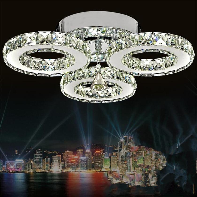Хрустальные потолочные лампы 3 светодио дный кольца современная светодиодная люстра потолочное освещение для спальни блеск плафона потоло...