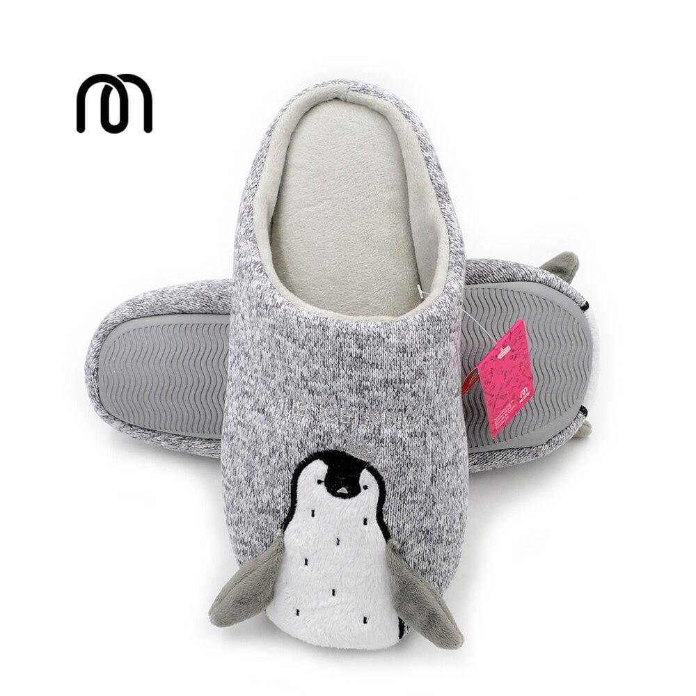 Millffy kniting fabrics soft TPR bottom adorable penguin slippers plush penguin women bedroom girls shoes slippers