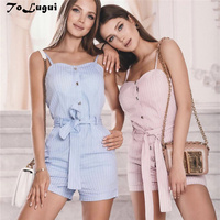 ToLugui fashion Button jumpsuit sexy summer 2019 pink sling shorts overalls romper casual women backless cutaway rompers