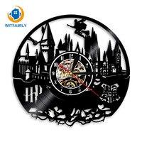 Harry Potter Wall Clock Vinyl LP Record Clocks Modern Design Classic CD Wall Watch Home Decor Quartz Black Hollow 3D Decorative