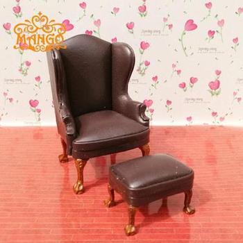 ¡Multicolor! 112, muebles en miniatura para casa de muñecas, sofá de cuero con pedal delicado