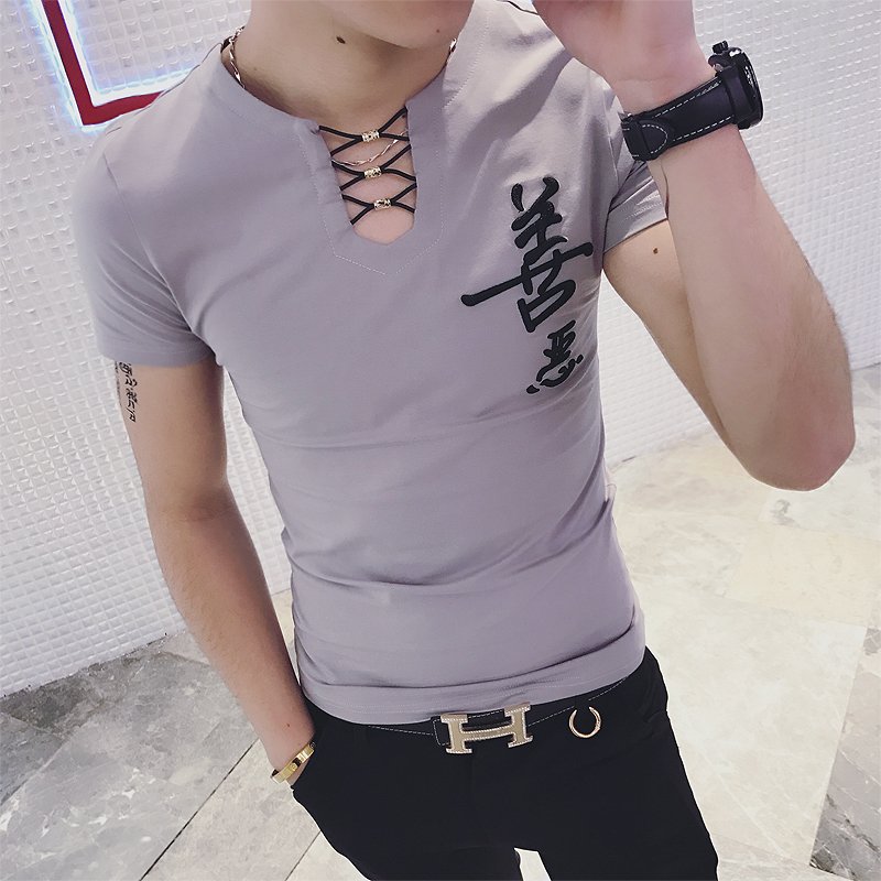 0b9270a7 2018 summer V neck short sleeved t shirt men's solid color Korean Slim  embroidered T shirt summer half sleeves trend clothes-in T-Shirts from Men's  Clothing ...