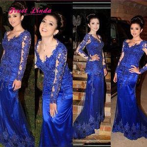 Graceful Maniche Lunghe Plus Size Madre Della Sposa Illusione Scollatura Royal Blue Madre Della Sposa Abiti 2018(China)