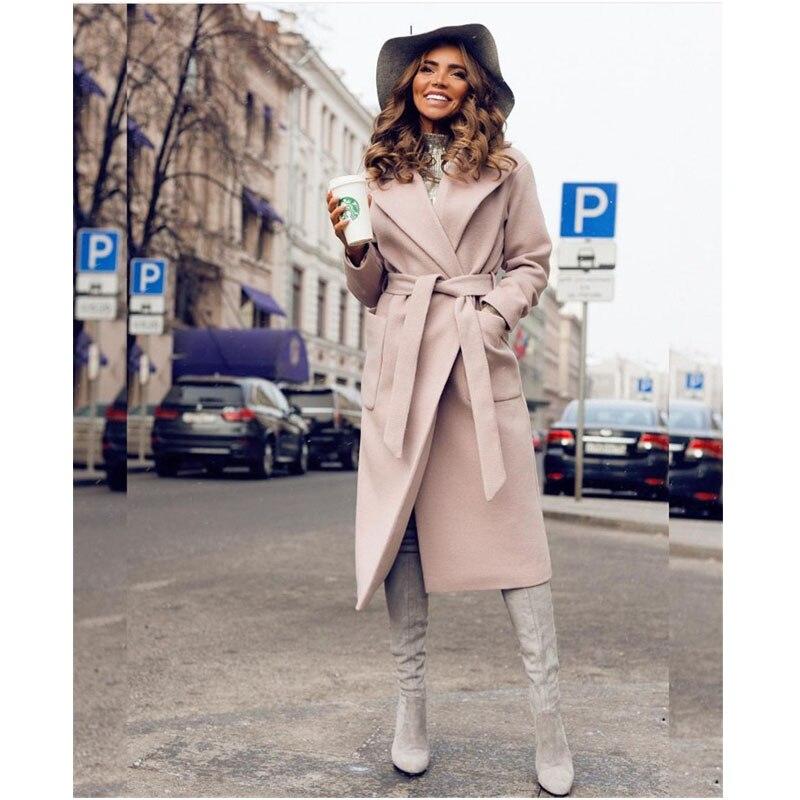 bourgogne Banlieue Manteau rose Longues Pu Automne Peluche Ciel vent Bleu Laine kaki Avec De Coupe Manches Couleur Hiver Mode Dames 2018 Solide Revers En Femmes marine 4CqwdqY