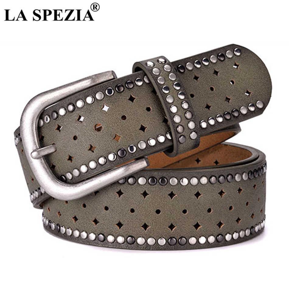 LA SPEZIA ремень из настоящей кожи женские ремни с заклепками и пряжкой для брюк женские дизайнерские брендовые пояса из натуральной кожанные женские