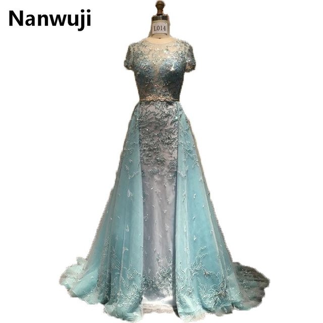 148767718 2017 New Real Sample Evening Dress With High Neck Luxurious Detachable  Train See Through Back Prom Dresses