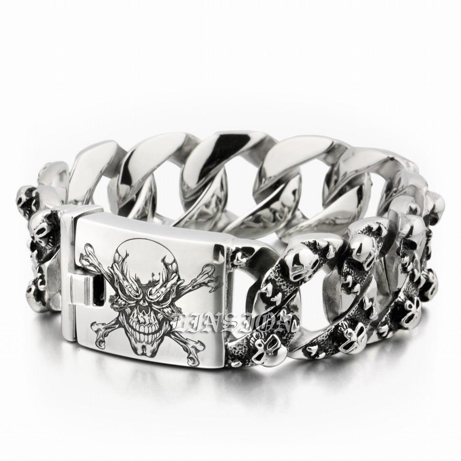 Énorme crâne de Pirate gravé au Laser profond en acier inoxydable 316L pour hommes-in Bracelets ficelle et chaîne from Bijoux et Accessoires    2