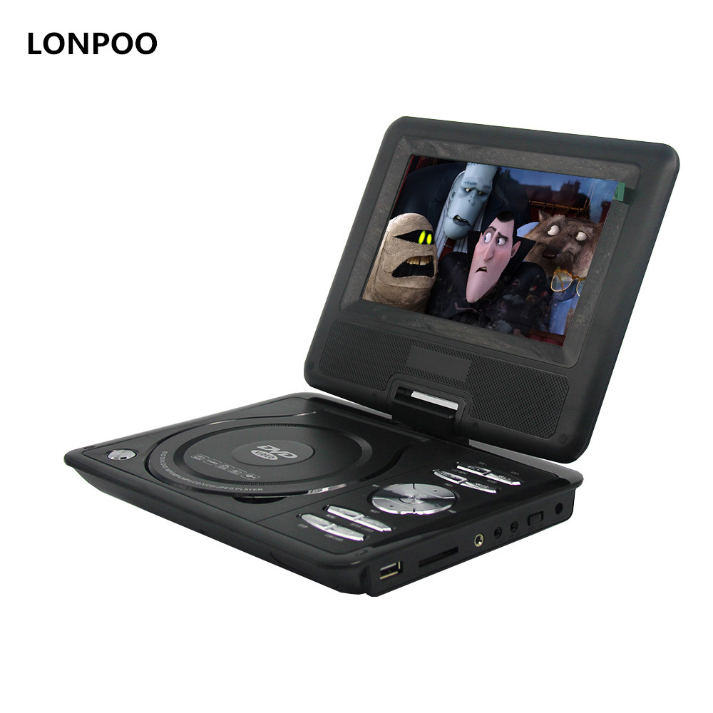 цена на LONPOO 7- Inch Swivel Screen Portable CD/MP3/DVD Player with 3 Hour Built-In Rechargeable Battery DVD Player With USB/SD Card