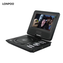 LONPOO 7- Inch Swivel Screen Portable CD/MP3/DVD Player with 3 Hour Built-In Rechargeable Battery DVD Player With USB/SD Card