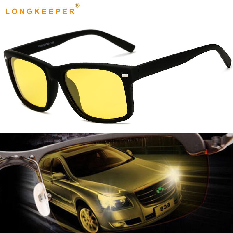 LongKeeper 2019 Hot Men's Polarized Men Sunglasses Yellow Lens Night Driving Glasses Goggles Anti-Glare Polarizer Eyewears