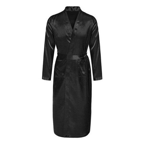 BLACK Mens Robe Hot Sale Faux Silk Kimono Bath Gown Bathrobe Nightgown Sleepwear Hombre Pijama Size S M L XL XXL XXXL ZhM055