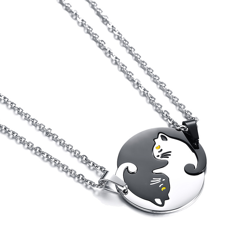2 Pieces! Cute Cat Necklaces for Women Men Silver Black Titanium Cat Pendant Stainless Steel Chain Lover Couple Necklaces cute bear shaped stainless steel pendant titanium