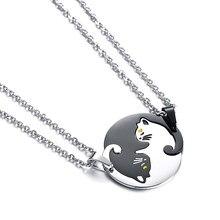 4d9b7e98998c Lindo gato collares para Mujeres Hombres plata negro titanio gato colgante  Acero inoxidable cadena amante pareja col.
