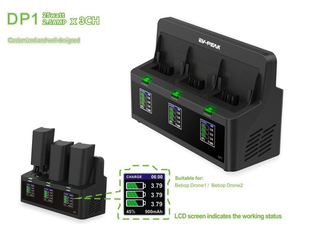 EV PEAK dp1 3 포트 25 w/ch 2.5a/ch 앵무새 비밥 드론 1 저장 기능이있는 배터리 충전기 밸런스 전류 400ma-에서부품 & 액세서리부터 완구 & 취미 의  그룹 1