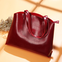 Real Leather shoulder Bags Generous Fashion Big Bag Women Handbags Genuine Leather Oil Wax Cowhide Handbags Lady Tote Bags