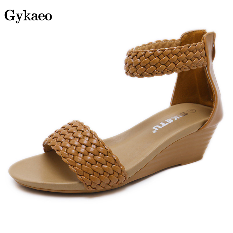 Gykaeo Roman Style Female Sandals Lady Large Size Comfortable Weave Beach Shoes Women Street Fashion Wedges Sandalias Mujer 2019