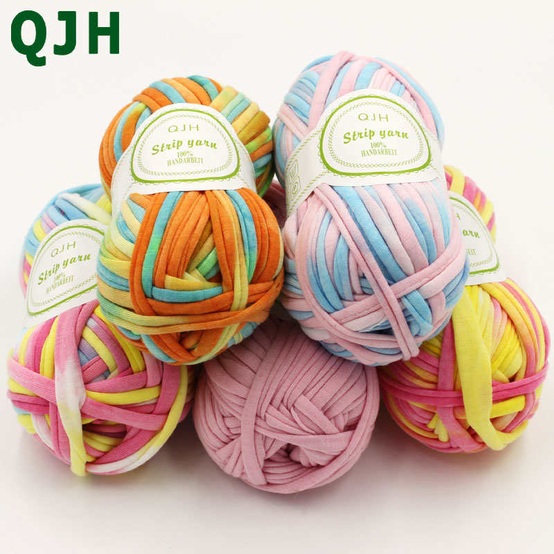 100g/pcs New Fancy Mixed Colors Cloth Yarns For Hand Knitting Thick Thread Crochet Carpet Handbag Ribbon Hand-knit Craft