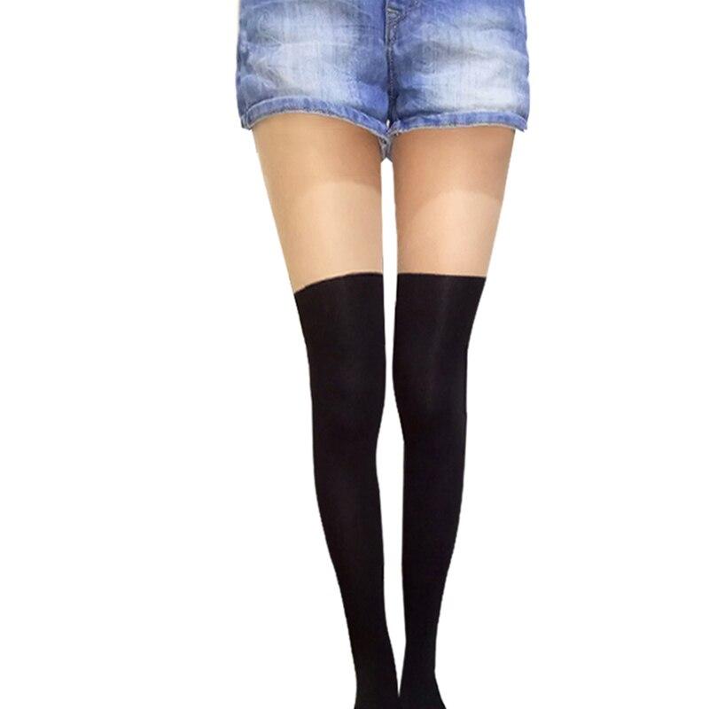 2017 Tights Women Spring Summer Ttyle Women Girls Nightclubs Sexy Black Tinted Sheer False High Stockings Pantyhose Tattoo Tight