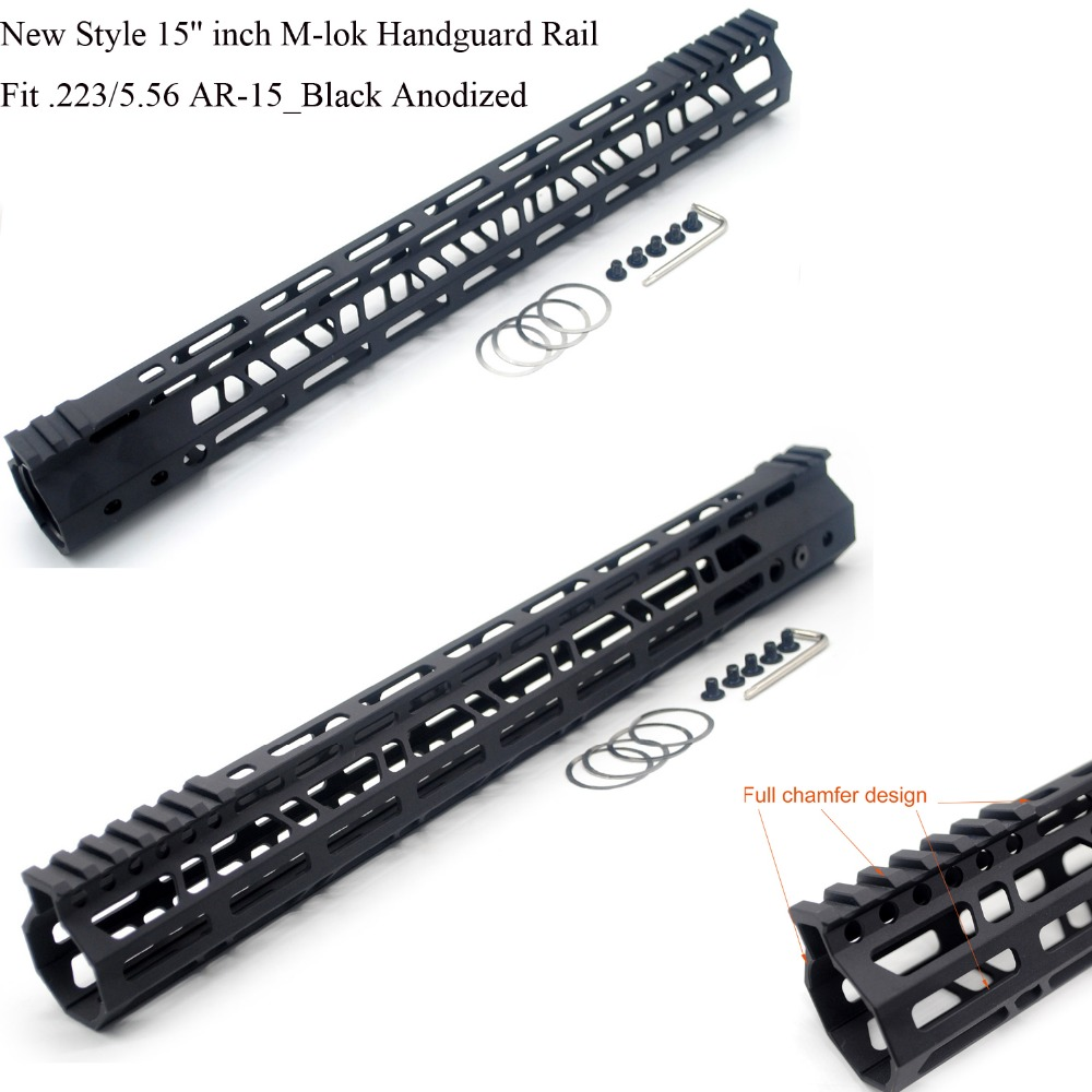 TriRock New Style 15'' inch M-lok Handguard Rail Free Float Picatinny Mount System Black Anodized Fit .223/5.56 Free Shipping new lightweight cnc aluminum anodes m lok 13 5 inch handguard rail one picatinny rails system bk