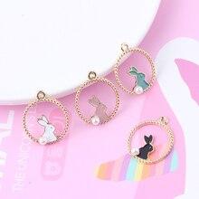 10pcs Cute Pearl Rabbit Enamel Charms Pendants Round Rabbit Alloy Charm DIY Decoration Earring Jewelry Accessory 22*27mm FX025 4pcs cute enamel round dolphin earring