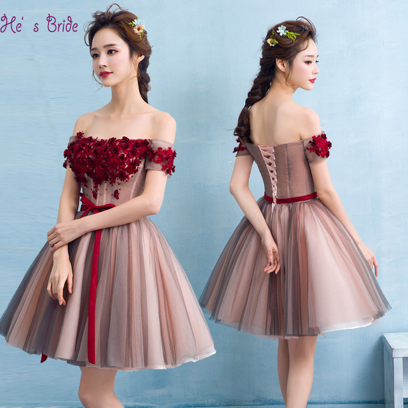 Gray Pink Boat Neck A line Mini Prom Dresses with Appliques Crystal Off The Shoulder Evening