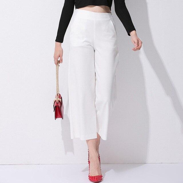 Marca Para Mujer Pantalones De Verano Delgado Corto Señoras de La Manera  Elegante OL pantalones Anchos 021217ff5bdd