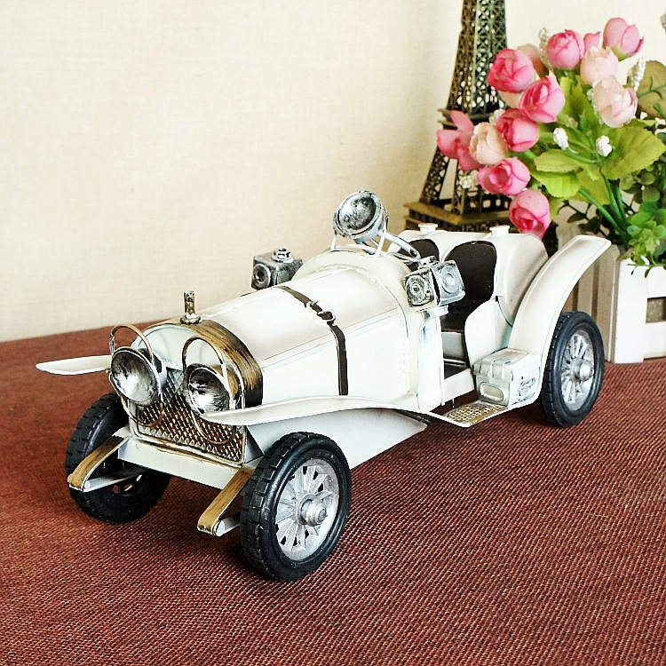 1215 white Retro Classic Car Model Furnishing Articles Creative Household Gifts 6 piece 10 14cm super mario action figure evade glue fair young car furnishing articles model holiday gifts ornament box packed