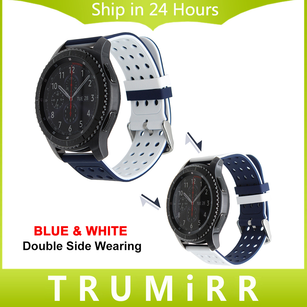 22mm Silicone Watch Band + Tool for Samsung Gear S3 Classic Frontier Double Color Wearing Strap Rubber Belt Sport Wrist Bracelet 22mm silicone rubber watch band safety clasp strap for samusng gear s3 classic frontier garmin fenix chronos wrist belt bracelet
