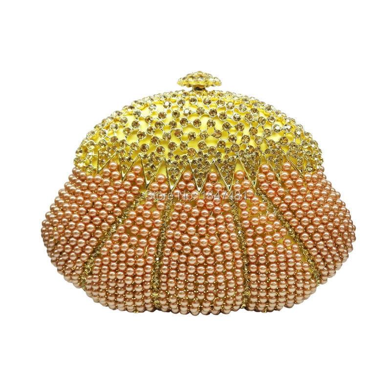 LaiSC bolsas bolsa de embrague con cuentas de cristal de champán de noche de bai