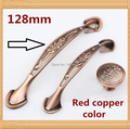 Single Knob Hole Pitch 96mm/128mm Single Knob Kitchen Furniture Handle antique bedroom drawer handle Red copper color