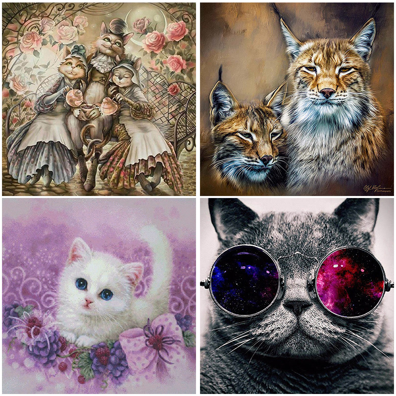 5D Round Drill Cat Diamond Painting Animal Full Mosaic Square Drill Embroidery Cross Stitch Europe Style Cartoon Home Decor in Diamond Painting Cross Stitch from Home Garden