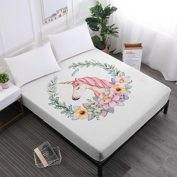 Hogar textil cama hoja lindo unicornio impresión sábanas señoras ...
