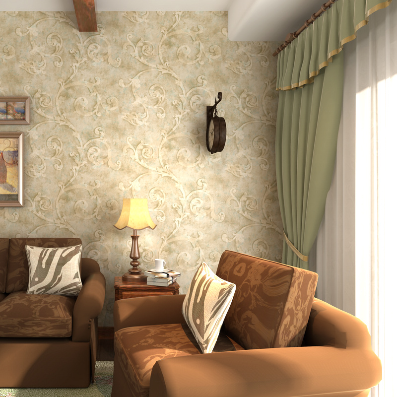 classical American country wallpaper bedroom leaf Chinese trumpet creeper nostalgic restoring ancient ways do old wall paper new household decorates nostalgic american country pure paper wallpaper restoring ancient ways brush paint process living room