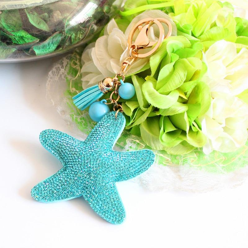 2015 Fashion Charm Rhinestone leather Starfish Tassel Pendant keychain alloy bag Key ring Holder for Women