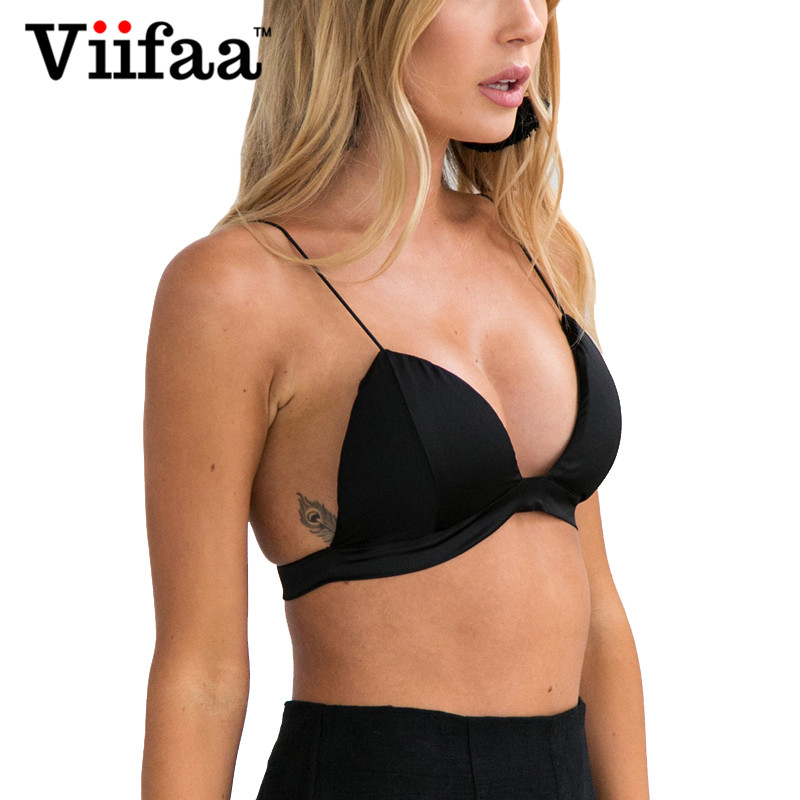 Viifaa Black Bralette Top Women 2017 Satin Padded Bra Crop Top Summer Sexy Top One Size Backless Bustier