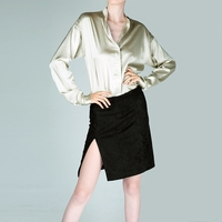 100% натуральный шелк блузки OL сплошной Цвет с длинным рукавом натурального шелка блузка бизнес рубашки для женщин Офис носить рубашки работ