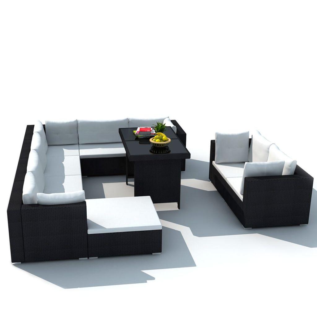polyrattan lounge set schwarz, polyrattan. top pflanzkbel als trog mit rankgitter u schwarz xxcm, Design ideen